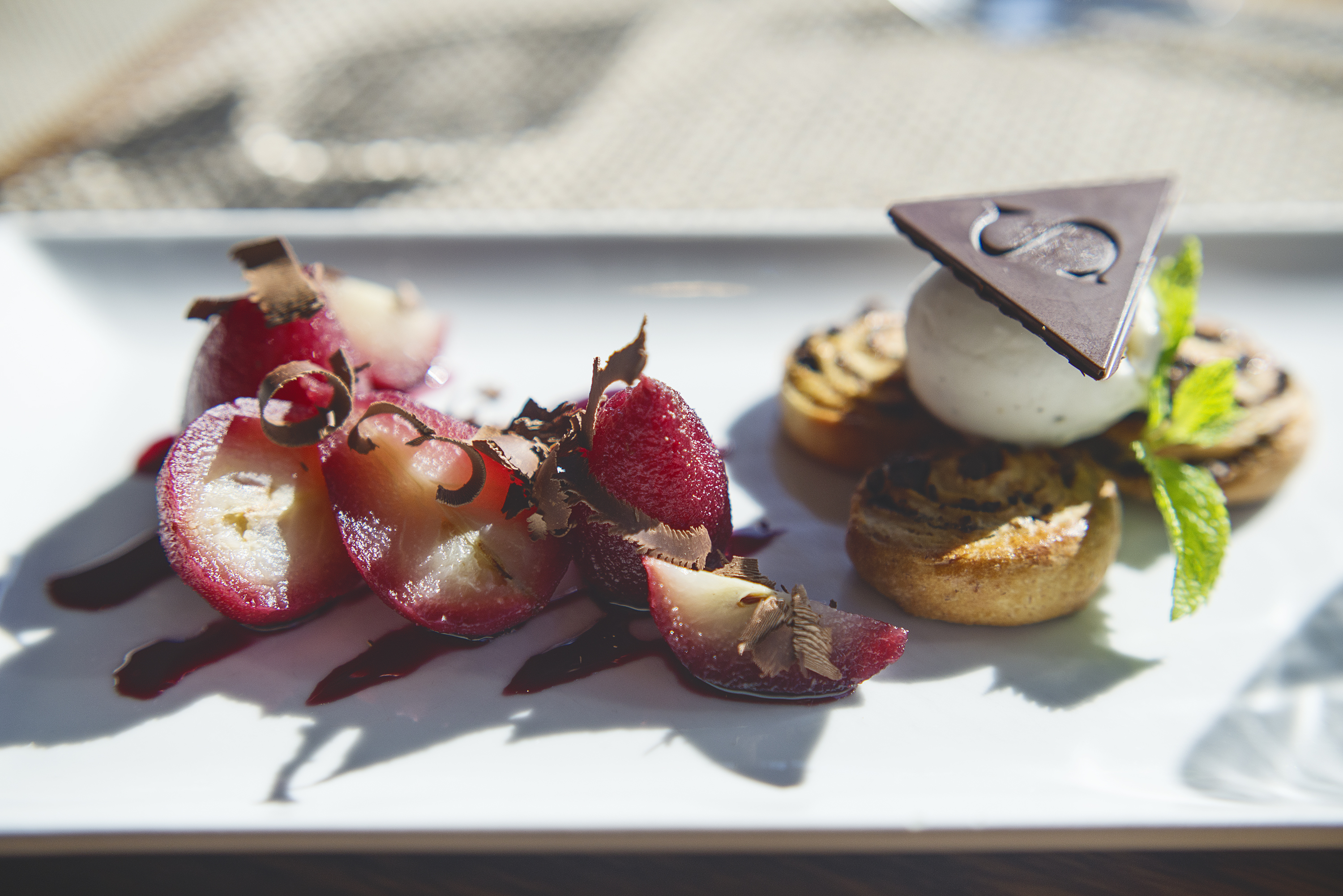 Shimmy Beach Club Winter menu - Port & Pinotage poached Pear
