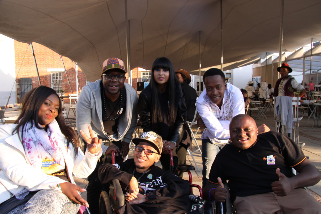Front: Casual Day ambassadors 2J Harmonix and Khumo Moyane. Back Casual Day ambassador Thuli Matlala, with DJ Zubz, Lezanne Naidoo and Patrick Mashegwana.